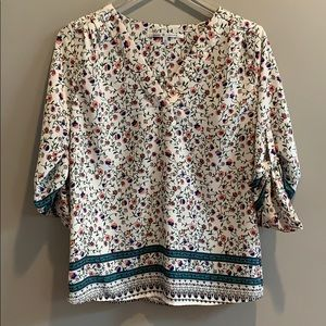 Collective Concepts Floral Roll Sleeve Blouse S